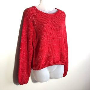 NWT XS Red Silver Sparkle Balloon Sleeve Sweater